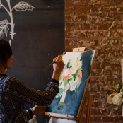 Guests could watch a painting in progress